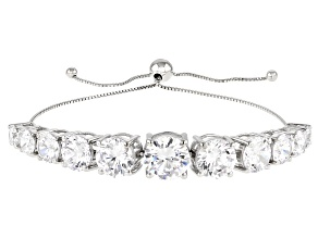 Pre-Owned White Cubic Zirconia Rhodium Over Sterling Silver Adjustable Bracelet 30.39ctw