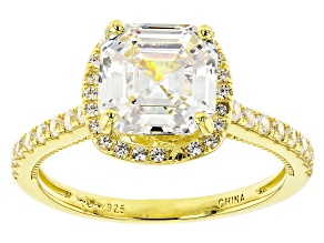 Pre-Owned White Cubic Zirconia 18K Yellow Gold Over Sterling Silver Asscher Cut Ring 4.35ctw