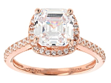 Picture of Pre-Owned White Cubic Zirconia 18K Rose Gold Over Sterling Silver Asscher Cut Ring 4.35ctw