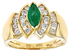 Pre-Owned Green Marquise Emerald 14k Yellow Gold Ring 1.07ctw