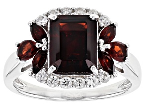 Pre-Owned Red garnet rhodium over sterling silver ring 3.28ctw