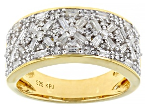 Pre-Owned White Diamond 14k Yellow Gold Over Sterling Silver Band Ring 0.75ctw