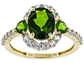 Pre-Owned Green Chrome Diopside 10k Yellow Gold Ring 3.20ctw