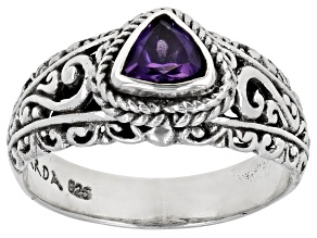 Pre-Owned Purple Brazilian Amethyst Sterling Silver Ring 0.77ct