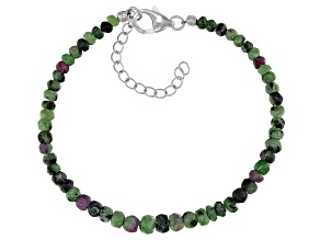 Pre-Owned Green ruby zoisite bead strand sterling silver bracelet