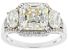 Pre-Owned Fabulite Strontium Titanate and white zircon rhodium over sterling silver ring 5.81ctw.