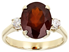 Pre-Owned 10k Yellow Gold Oval Hessonite Garnet And Fabulite Strontium Titanate Ring