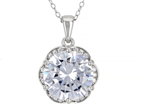 Pre-Owned White Cubic Zirconia Rhodium Over Sterling Silver Pendant With Chain 9.50ctw