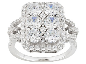 Pre-Owned White Cubic Zirconia Rhodium Over Silver Ring 4.66ctw