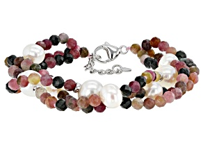 Pre-Owned Cultured Freshwater Pearl And Tourmaline Rhodium Over Sterling Silver 3 Strand Bracelet