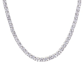 Pre-Owned White Cubic Zirconia Silver Tone Brass Tennis Necklace 28.91ctw