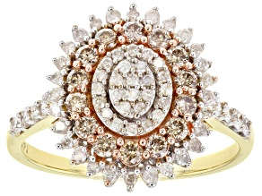 Pre-Owned Champagne And White Diamond 10K Yellow Gold Cluster Ring 0.80ctw