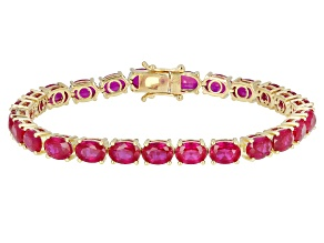 Pre-Owned Red Lab Created Ruby 18K Yellow Gold Over Sterling Silver Tennis Bracelet 30.65ctw