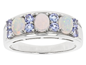 Pre-Owned Multicolor Ethiopian Rhodium Over Silver Band Ring .95ctw