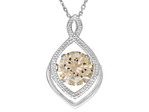 Pre-Owned Brown cubic zirconia silver pendant with chain 3.40ct (2.04ct DEW)