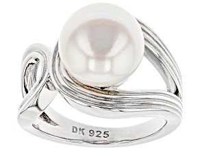 Pre-Owned White Cultured Freshwater Pearl 11-11.5mm Rhodium Over Sterling Silver Ring
