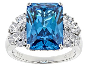 Pre-Owned Blue And White Cubic Zirconia Rhodium Over Sterling Silver Ring 12.91ctw