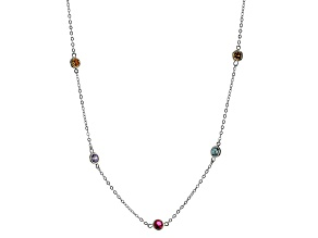 Pre-Owned Lab Created Ruby And Multicolor Cubic Zirconia Rhodium Over Sterling Necklace 17.68ctw