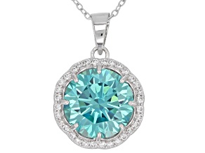 Pre-Owned Blue And White Cubic Zirconia Rhodium Over Sterling Silver Pendant With Chain 12.10CTW