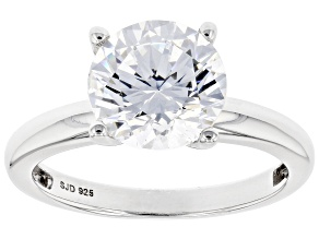 Pre-Owned White Zirconia From Swarovski ® Platinum Over Sterling Silver Ring 4.81ctw