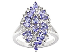 Pre-Owned Blue Tanzanite Rhodium Over Silver Ring 1.69ctw