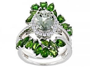Pre-Owned Prasiolite Rhodium Over Sterling Silver Ring W/ Guard 5.13ctw
