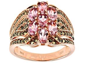 Pre-Owned Pink Color Shift Garnet 18k Rose Gold Over Sterling Silver Ring 2.52ctw