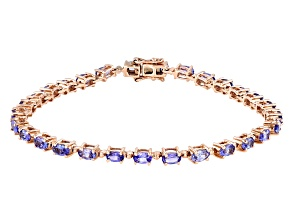 Pre-Owned Tanzanite 18K Rose Gold Over Sterling Silver Tennis Bracelet 5.48ctw