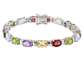 Pre-Owned Multi-Color Gemstone Rhodium Over Silver Tennis Bracelet 11.73ctw