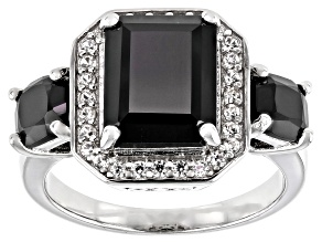 Pre-Owned Black Spinel Rhodium Over Sterling Silver Ring 5.19ctw