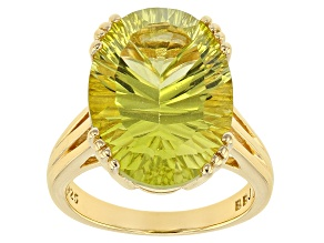 Pre-Owned Yellow canary quartz 18k gold over silver ring 10.75ct