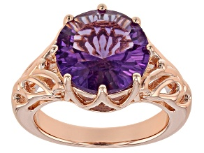 Pre-Owned Purple amethyst 18k rose gold over silver ring 3.88ct