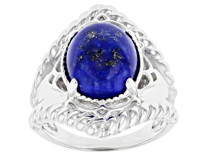 Pre-Owned Blue Lapis Lazuli Rhodium Over Sterling Silver Solitaire Ring
