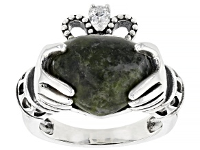 Pre-Owned Connemara Marble Silver Claddagh Ring