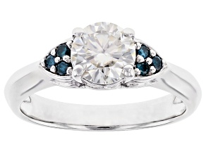 Pre-Owned Moissanite and blue diamond platineve ring 1.00ct DEW.