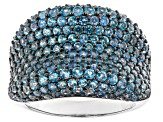 Pre-Owned Blue Swiss Topaz Rhodium Over Sterling Silver Ring 3.10ctw
