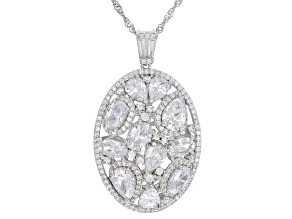 Pre-Owned White Cubic Zirconia Rhodium Over Sterling Silver Pendant With Chain 9.15ctw