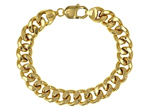 Pre-Owned 18K Yellow Gold Over Sterling Silver 11.40MM Grumette Link Bracelet