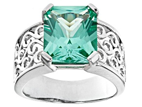 Pre-Owned Green Lab Created Spinel Rhodium Over Sterling Silver Solitaire Ring 5.80ct