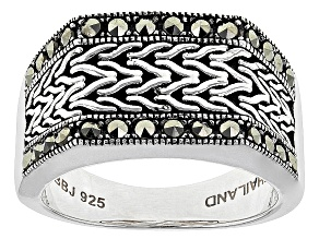 Pre-Owned Black Marcasite Sterling Silver Mens Ring