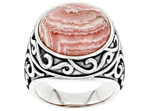 Pre-Owned Rhodochrosite Rhodium Over Sterling Silver Ring