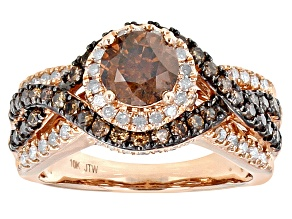 Pre-Owned Champagne And White Diamond 10k Rose Gold Center Design Ring 2.00ctw