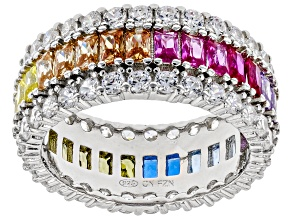 Pre-Owned Multicolor Cubic Zirconia, Lab Ruby, Lab Blue Spinel Rhodium Over Sterling Silver Ring 7.9