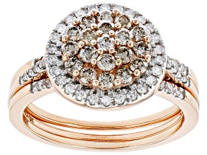 Pre-Owned Champagne & White Diamond 10K Rose Gold Cluster Ring With Bands 1.00ctw