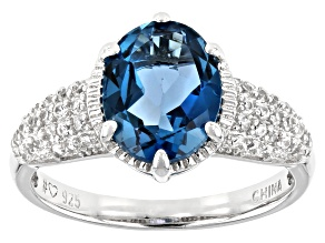 Pre-Owned London Blue Topaz Rhodium Over Sterling Silver Ring 3.07ctw