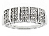 Pre-Owned White Diamond Rhodium Over Sterling Silver Wide Band Ring 0.70ctw
