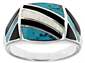 Pre-Owned Mens Lab Created Opal, Turquoise & Onyx Rhodium Over Silver Inlay Ring