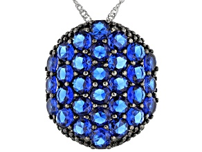 Pre-Owned Blue Lab Created Spinel Rhodium Over Sterling Silver Pendant with Chain 6.89ctw
