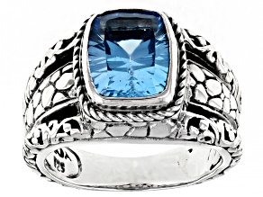Pre-Owned Blue Topaz Sterling Silver Solitaire Ring 2.60ct