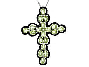 Pre-Owned Green Peridot Rhodium Over Sterling Silver Pendant With Chain 8.60ctw